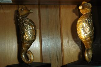 Hippocampe en bronze doré