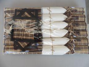 6 baguettes avec sets en rafia et serviettes tissu blanc