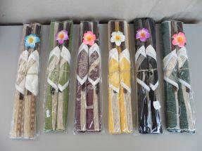 2 paires baguettes avec sets en tissu couleurs
